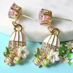 Betsey Johnson Jewelry - Betsey Johnson Floral Bird & Bee Cage Earrings